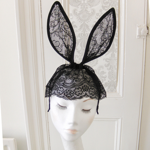 Black lace bunny ears headband with veil