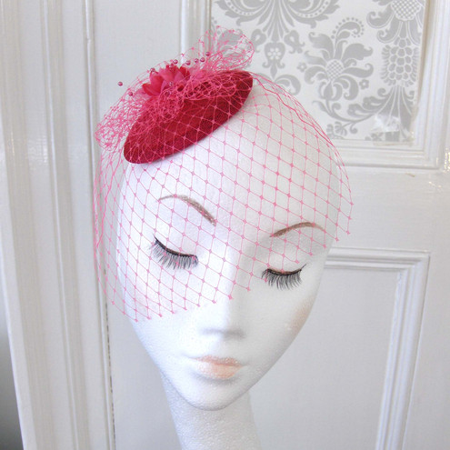 Fuschia Pink Babies Breath Fascinator