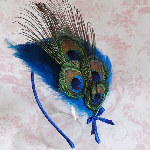 Terquoise Peacock Feather Headband...
