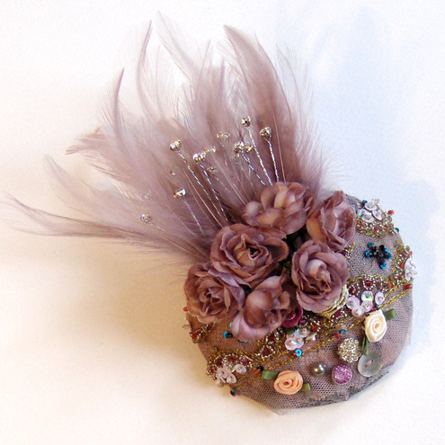 Dusky pink bejeweled cocktail hat, fascinator
