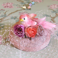 Cocktail hat, Rosie pink bird.