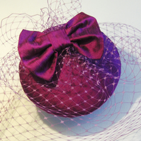 Handmade Magenta Silk Bow Veiled Cocktail Hat.