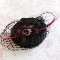 Black Flowers and Jewel Fascinator