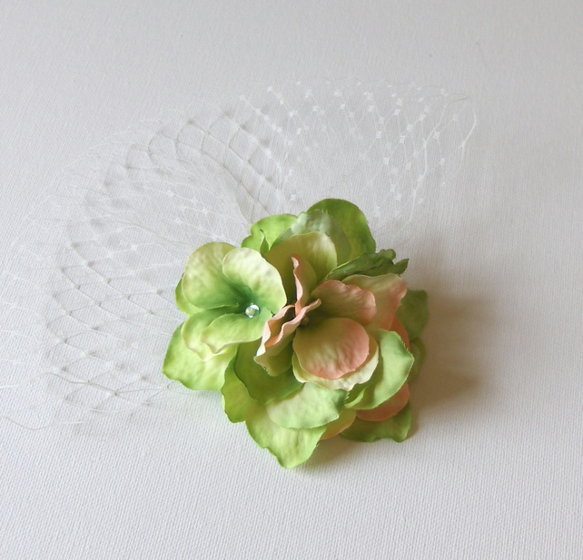 Green Floral Veiled Fascinator.