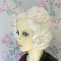 Listing for Emma. Champagne nude lace headband.