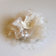 Champagne lace hair flower.