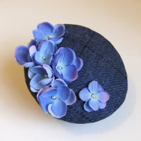 Cocktail hat, blue Harris Tweed, pearl blossoms.