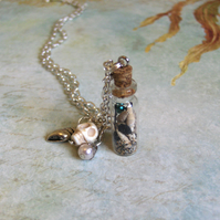 Mermaid dreams. Glass vial necklace.
