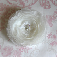 Ivory 9cm hair flower.