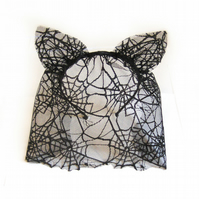 Spiders web Halloween  lace cat ears headband.