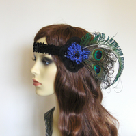 Peacock feather headband.