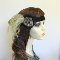 Gold feather flapper headband.