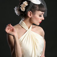 Handmade silk bow cocktail hat, fascinator, Ivory, many colours.