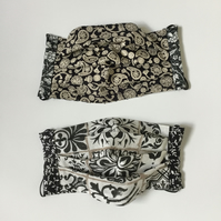 Face mask, reversible, double sided, handmade cotton, black and white.