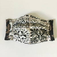 Black n' white, face mask, reusable, washable, cotton.