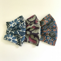 Batik cotton, face mask, washable, reusable, blue, purple.