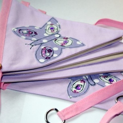 Butterfly girls nursery bunting, pink and lilac. Designed for you..