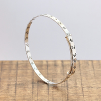 Silver Floral Bangle - Silver Expanding Bangle - Solid Silver Bangle