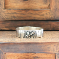 Silver Wedding Ring - Silver Floral Ring - Silver Blackthorn Ring