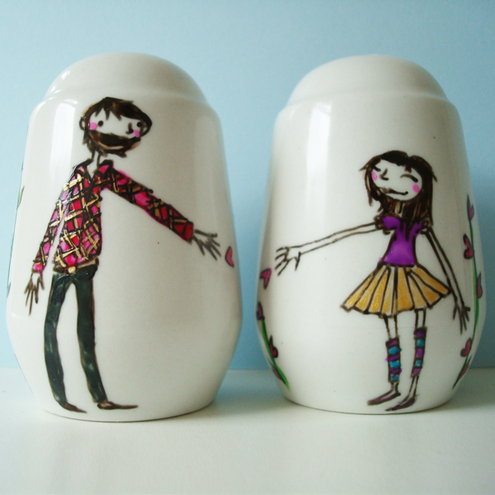 Personalised Salt & Pepper Shakers, Wedding, Engagement Gift, or for your lover
