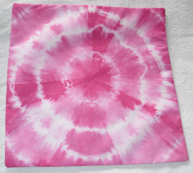 Pale Pink tie dye cushion,spirals and swirls
