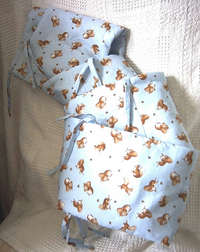 Beatrix potter Squirrel Nutkin on Blue cot bumpers