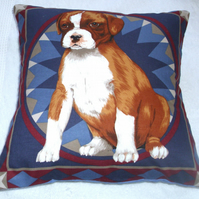 Boxer Pup sitting waiting patiently cushion,