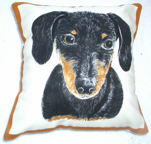 Portrait picture of a Dachshund facing forward cushion,