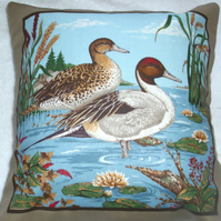 "Two ducks side by side in a river with reeds and waterlilies 10"" cushion"