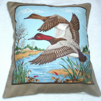 "Two ducks flying in to land on a river with trees in the distance 10"" cushion"