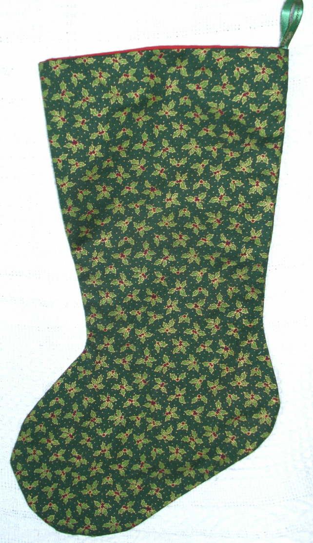 Holly and berries dark green Christmas stocking