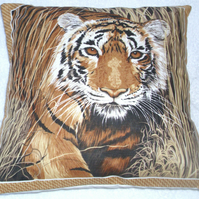 On Safari  magnificent Tiger prowling cushion