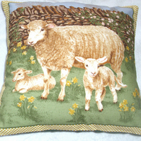 On the Farm sheep and lambs in springtime cushion
