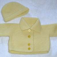 Hand Knitted Lemon yellow coat and hat for baby 0 to 3 months