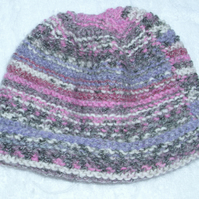 Hand knitted heather mix hat for baby 0 to 3 months