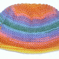 Hand knitted rainbow stripe hat for baby 3 to 6 months