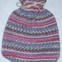 Hand Knitted heather mix hot water bottle cover with bottle