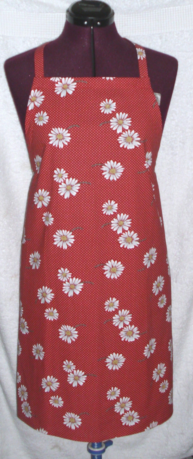 Bright White daisies on red Adult Apron