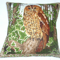 Tawny Owl in the woods cushion