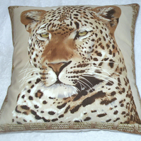On Safari  magnificent Leopard lying facing front cushion, VERY RARE