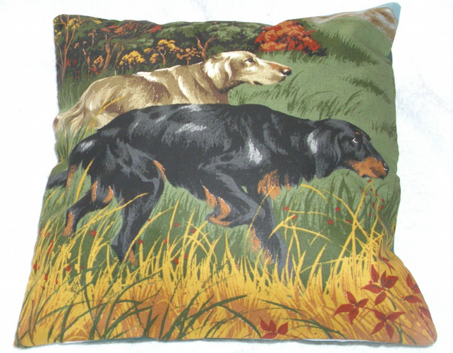 Gun Dogs walking in a field cushion