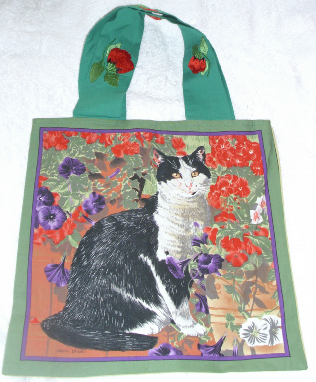 Black and White cat among flowers cloth shopping bag