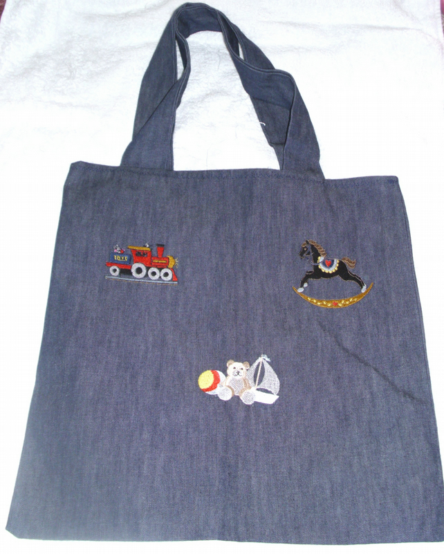blue denim embroidered cloth bag