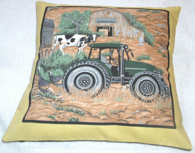 On the Farm Tractor, cow and Turkeys cushion