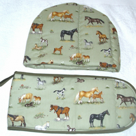 Horses and foals tea cosy and oven glove set