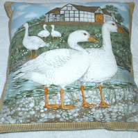 On the Farm Geese by the waters edge cushion