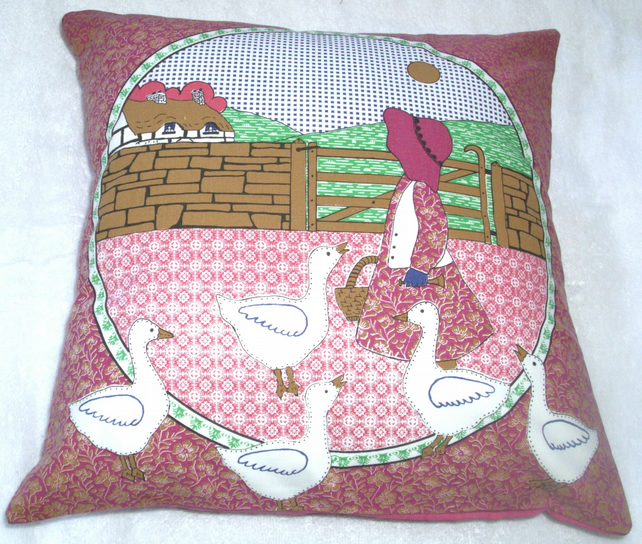 Little Goose girl with her five white geese cushion