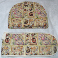 Butterflies, Bugs and Bees tea cosy and oven glove set