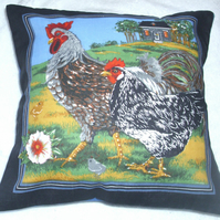 "On the farm French hen and cockerel cushion 10"" cushion."