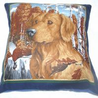 Beautiful Golden retriever ready and waiting for action cushion